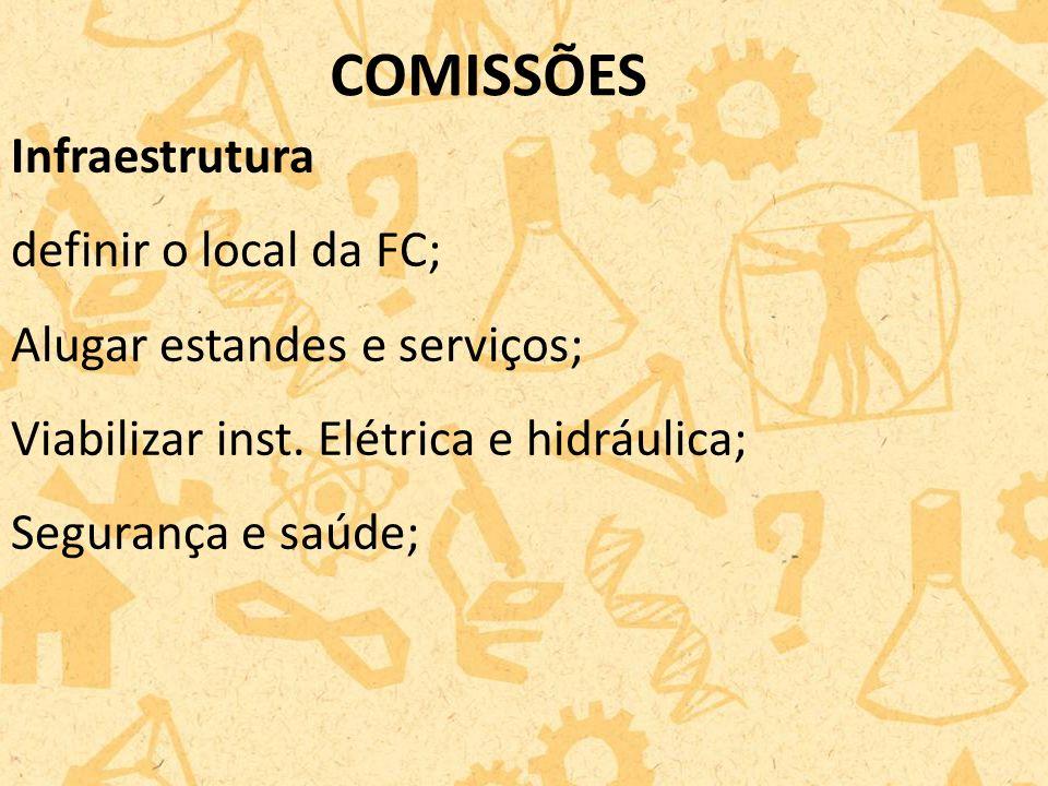 COMISSÕES Infraestrutura definir o local da FC;