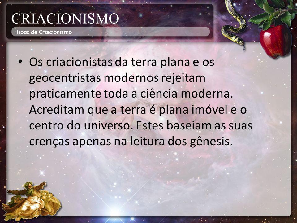 CRIACIONISMO Tipos de Criacionismo.
