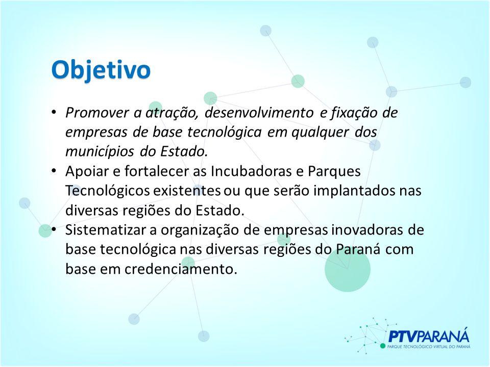 Objetivo Promover a atração, desenvolvimento e fixação de empresas de base tecnológica em qualquer dos municípios do Estado.