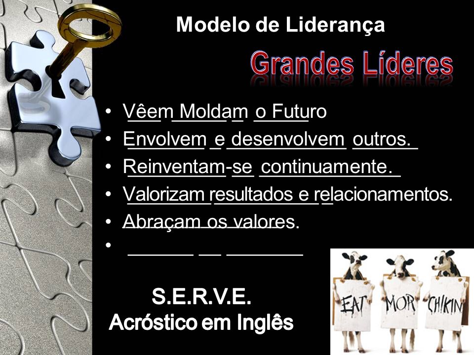 Grandes Líderes Modelo de Liderança S.E.R.V.E. Acróstico em Inglês