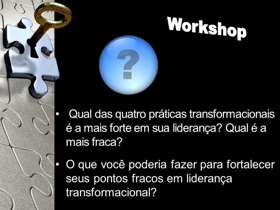 Workshop Qual das quatro práticas transformacionais é a mais forte em sua liderança Qual é a mais fraca