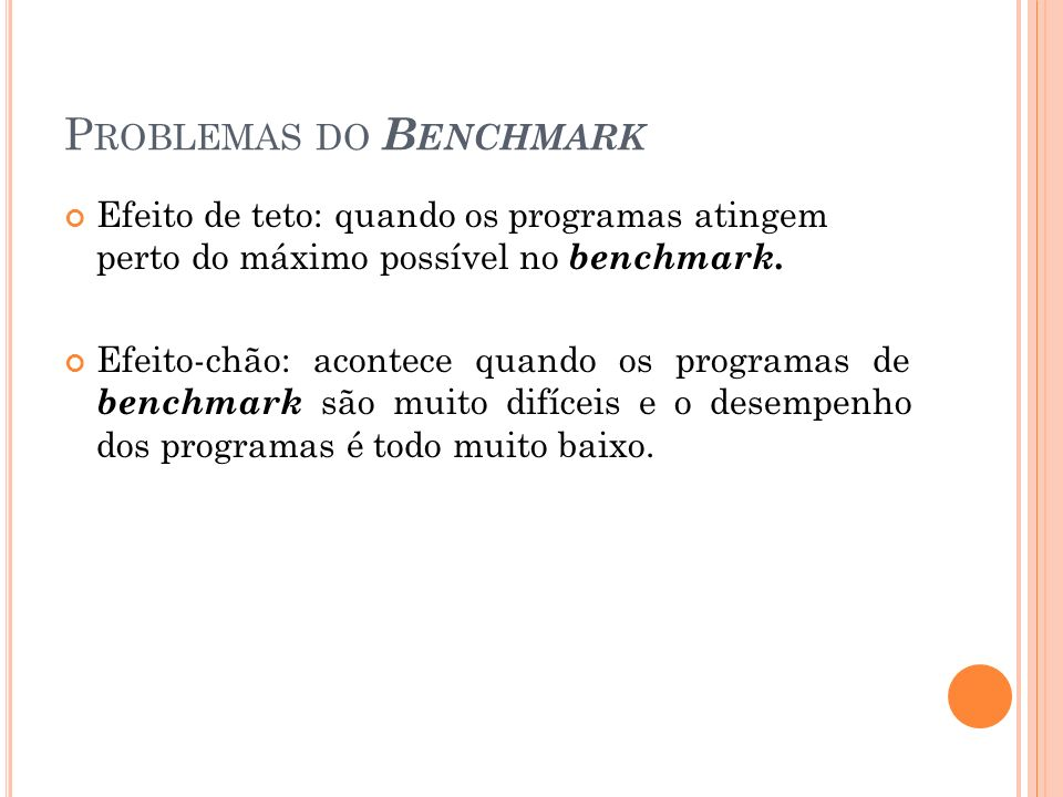Problemas do Benchmark