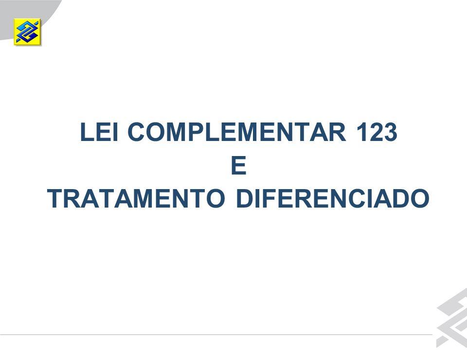 LEI COMPLEMENTAR 123 E TRATAMENTO DIFERENCIADO