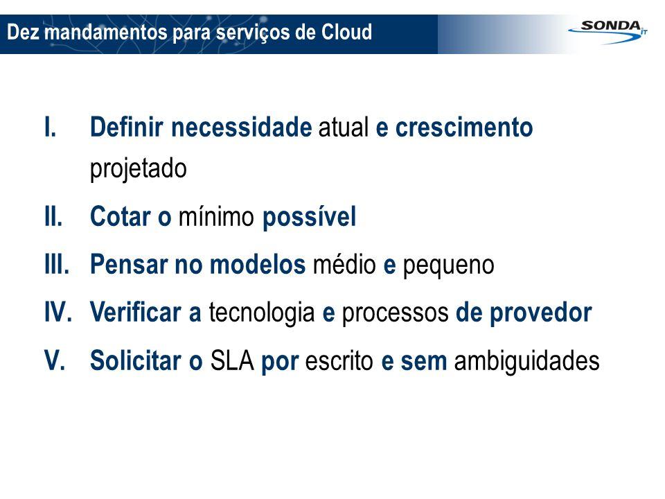 Dez mandamentos para serviços de Cloud