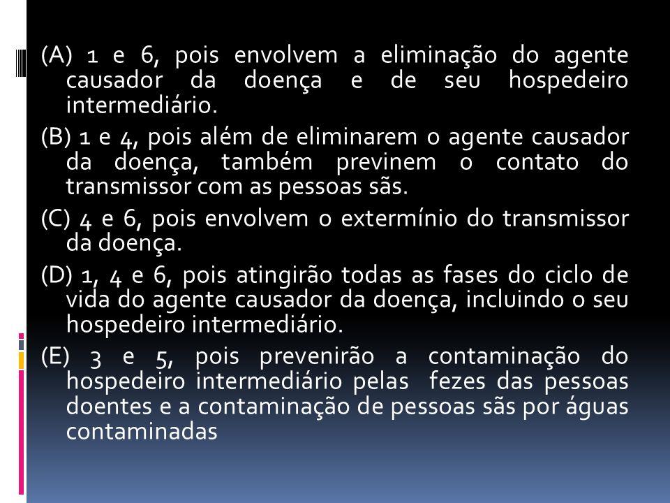 (A) 1 e 6, pois envolvem a eliminação do agente causador da doença e de seu hospedeiro intermediário.