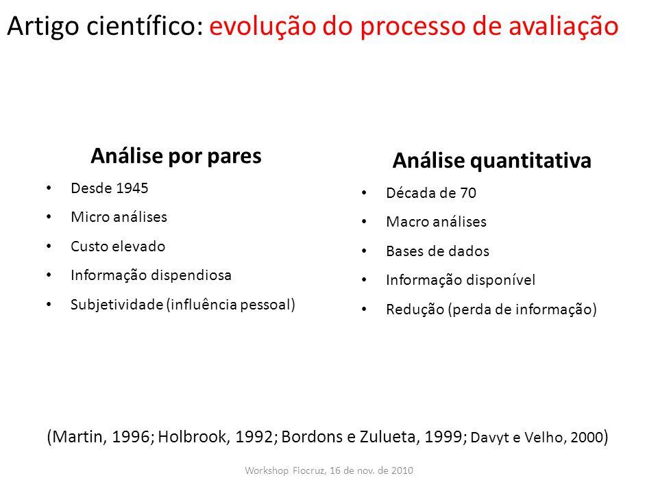 Artigo científico: evolução do processo de avaliação
