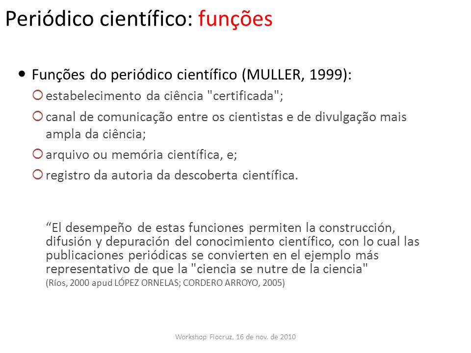 Periódico científico: funções