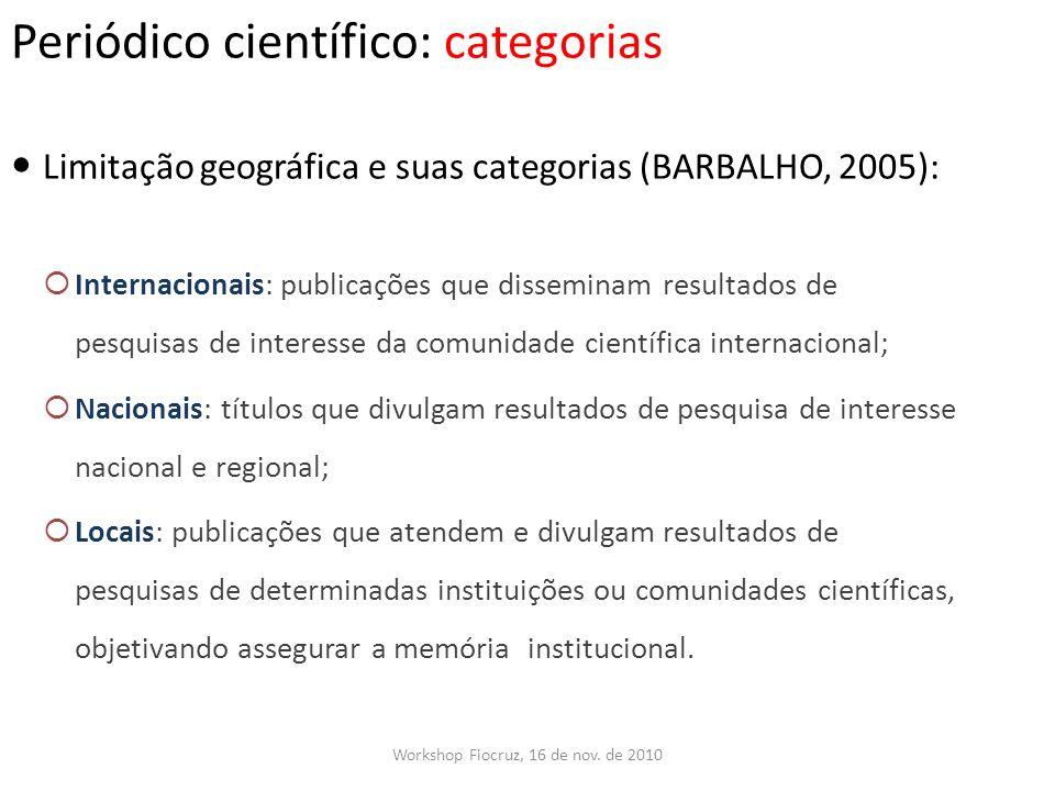 Periódico científico: categorias