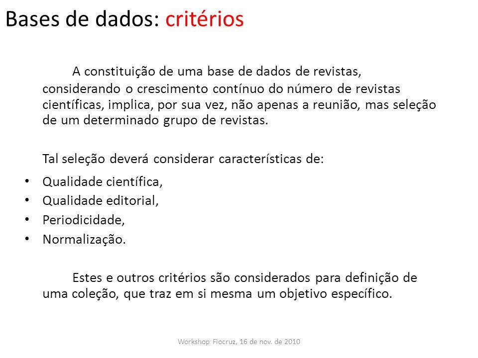Bases de dados: critérios