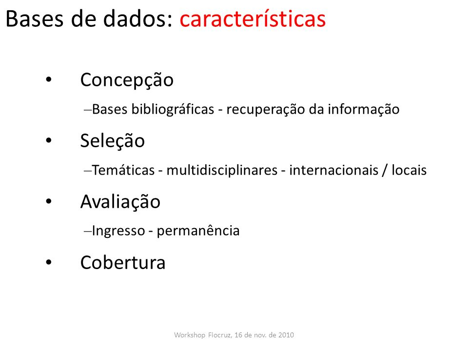 Bases de dados: características