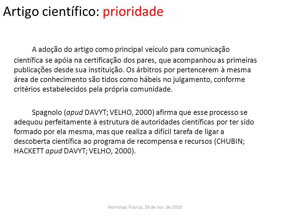 Artigo científico: prioridade