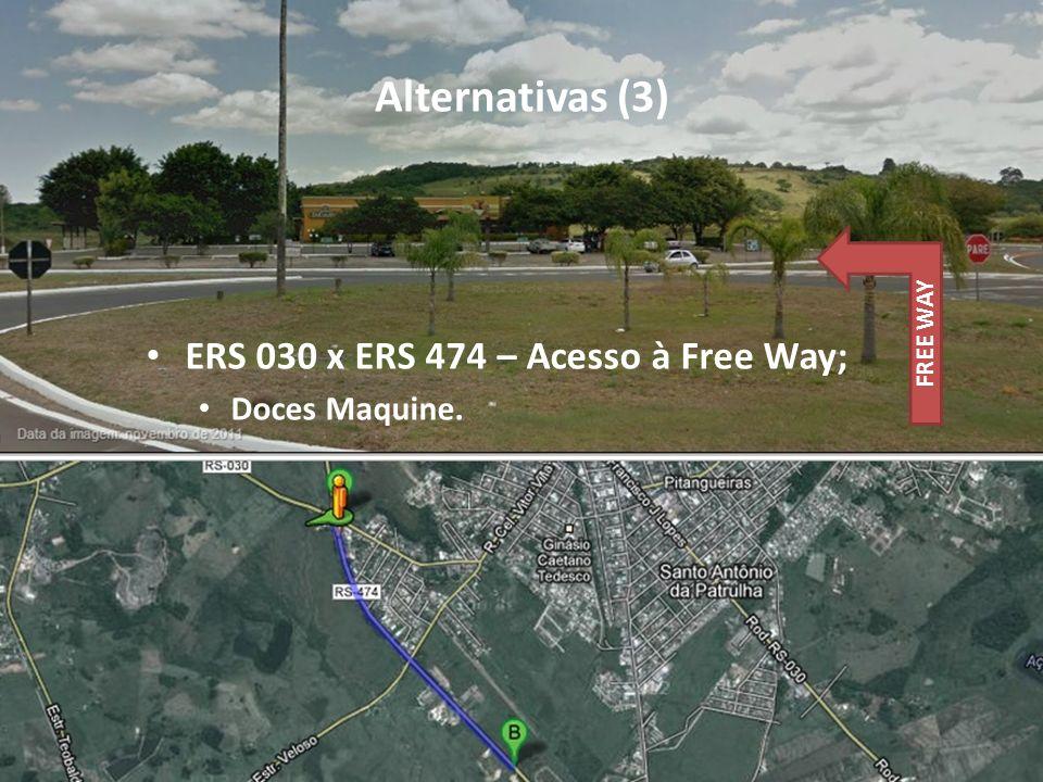 Alternativas (3) ERS 030 x ERS 474 – Acesso à Free Way; Doces Maquine.