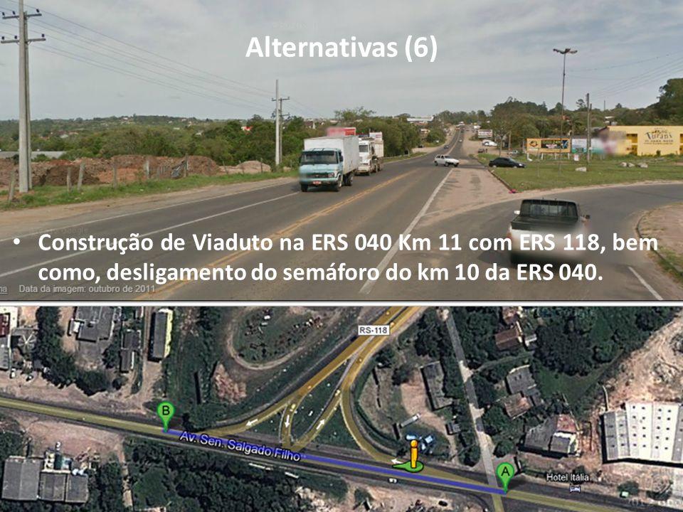 Alternativas (6) Construção de Viaduto na ERS 040 Km 11 com ERS 118, bem como, desligamento do semáforo do km 10 da ERS 040.