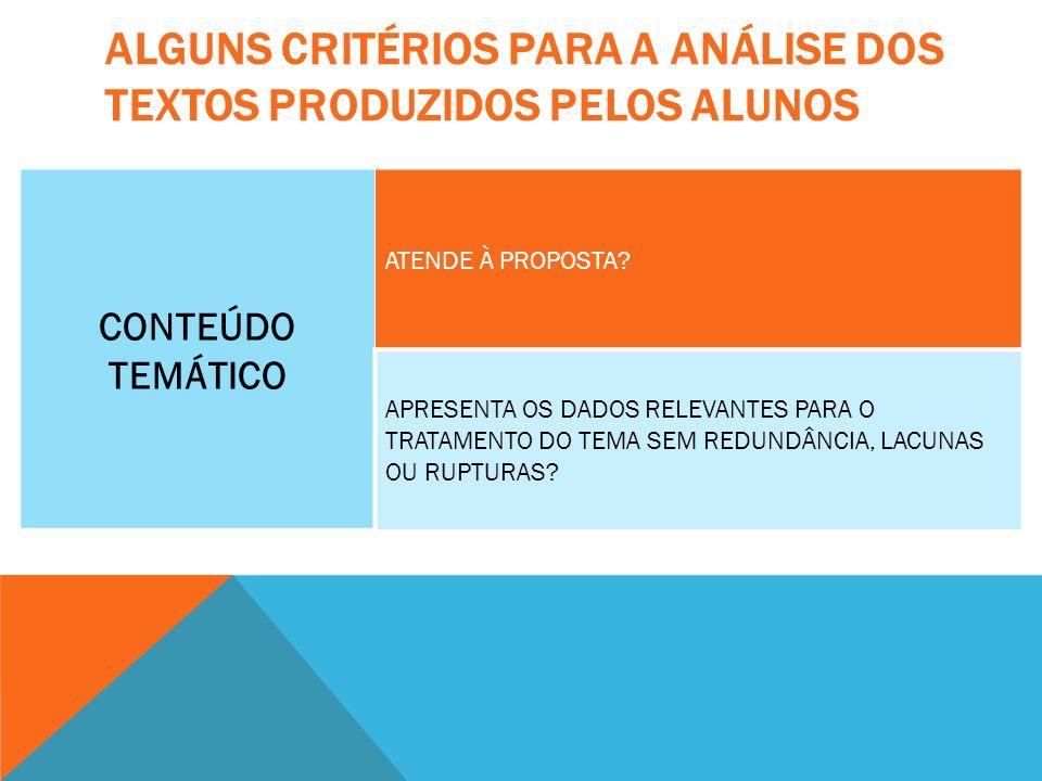 ALGUNS CRITÉRIOS PARA A ANÁLISE DOS TEXTOS PRODUZIDOS PELOS ALUNOS