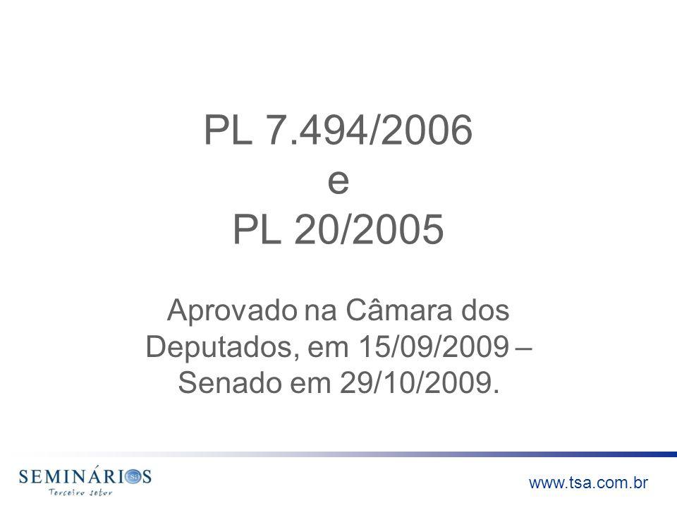 PL 7.494/2006 e PL 20/2005Aprovado na Câmara dos Deputados, em 15/09/2009 – Senado em 29/10/2009.
