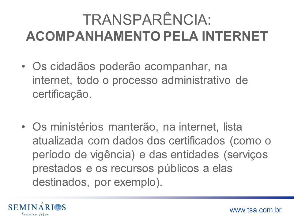 TRANSPARÊNCIA: ACOMPANHAMENTO PELA INTERNET