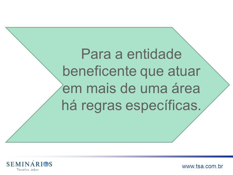 Para a entidade beneficente que atuar em mais de uma área há regras específicas.