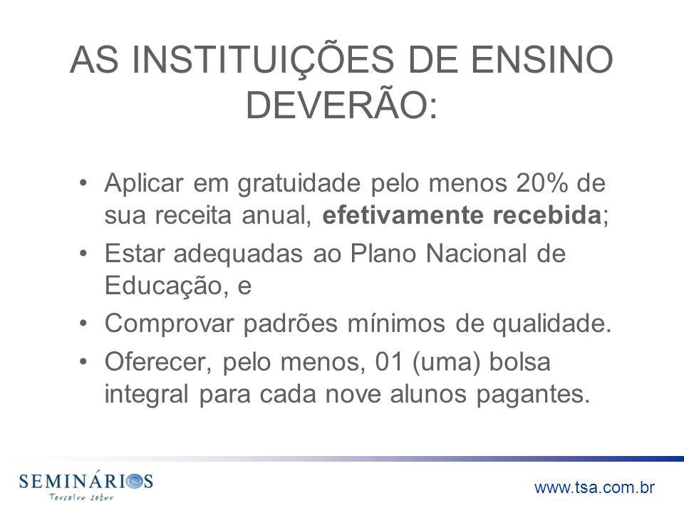 AS INSTITUIÇÕES DE ENSINO DEVERÃO: