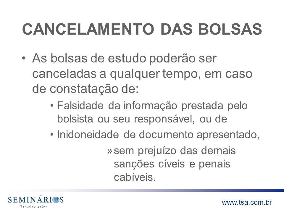 CANCELAMENTO DAS BOLSAS