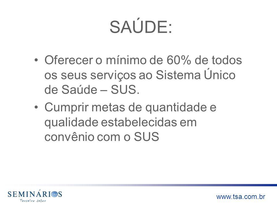 SAÚDE:Oferecer o mínimo de 60% de todos os seus serviços ao Sistema Único de Saúde – SUS.