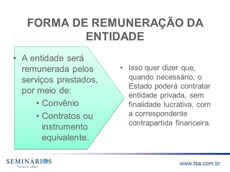 FORMA DE REMUNERAÇÃO DA ENTIDADE