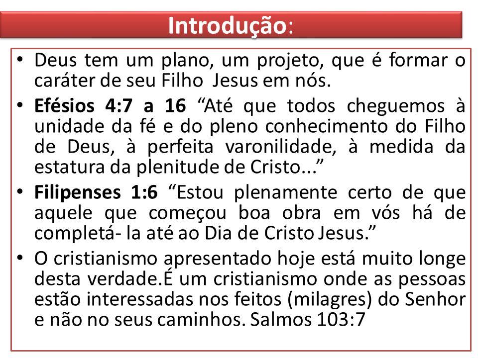 Introdução:Deus tem um plano, um projeto, que é formar o caráter de seu Filho Jesus em nós.