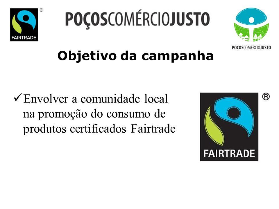 Objetivo da campanha Envolver a comunidade local na promoção do consumo de produtos certificados Fairtrade.