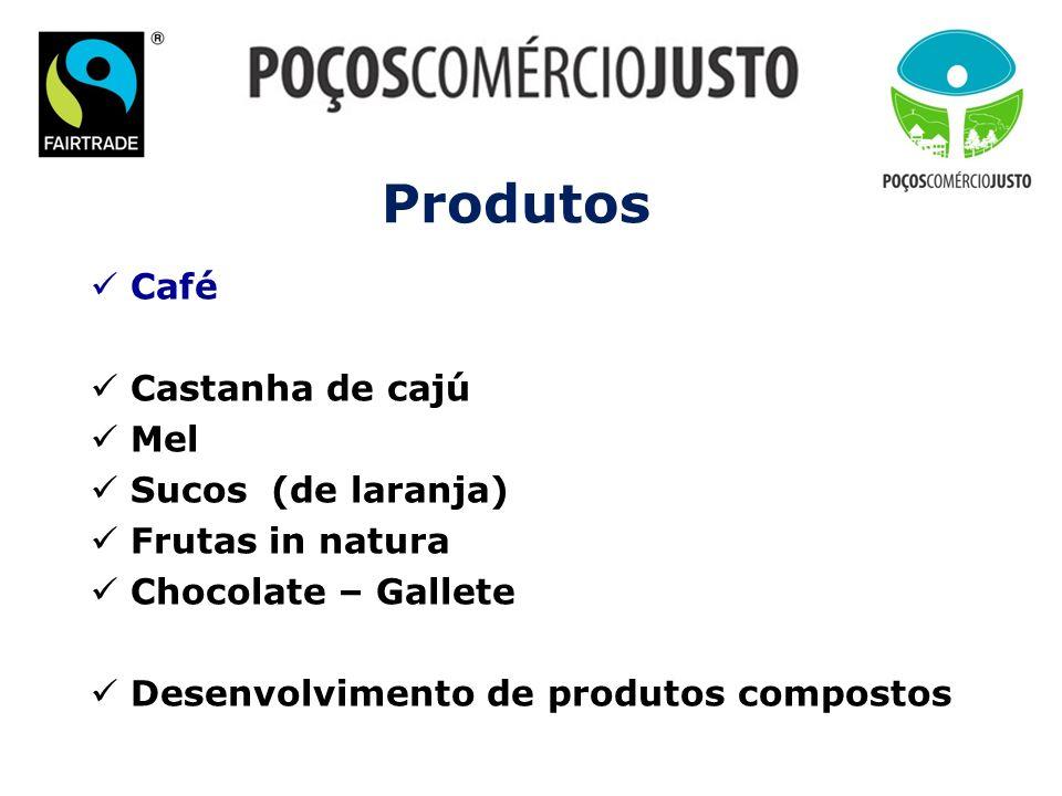 Produtos Café Castanha de cajú Mel Sucos (de laranja) Frutas in natura