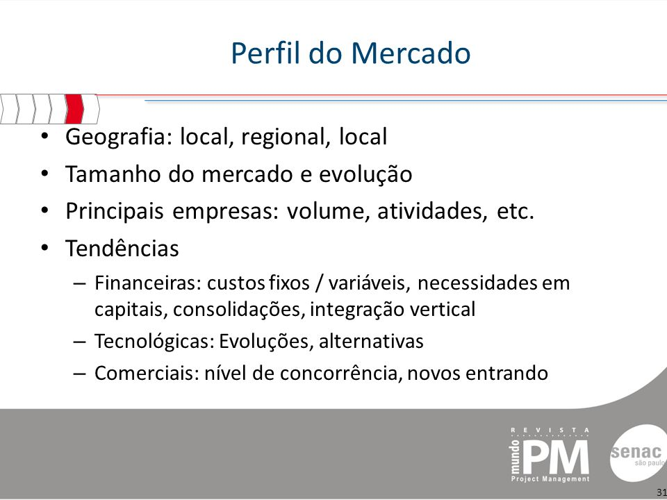 Perfil do Mercado Geografia: local, regional, local