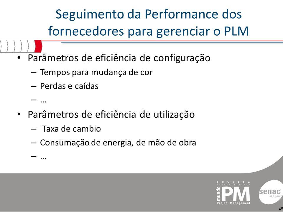 Seguimento da Performance dos fornecedores para gerenciar o PLM