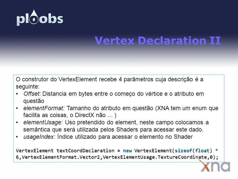 Vertex Declaration II O construtor do VertexElement recebe 4 parâmetros cuja descrição é a seguinte: