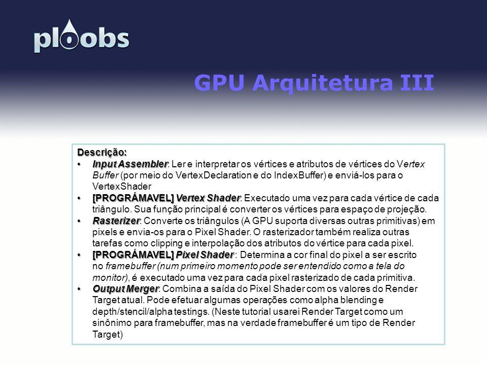 GPU Arquitetura III Descrição: