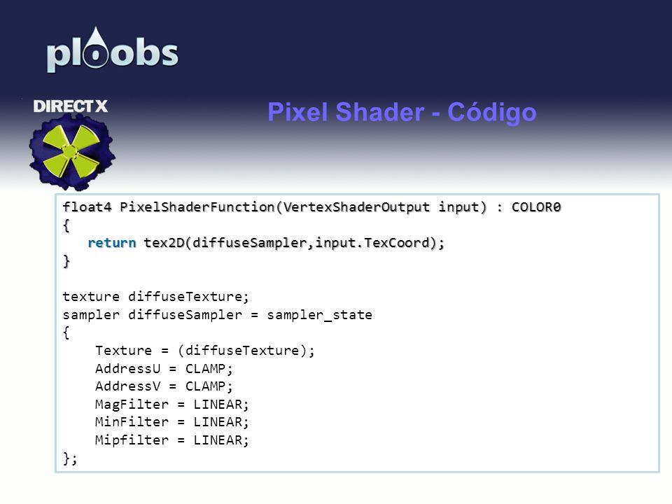 Pixel Shader - Código float4 PixelShaderFunction(VertexShaderOutput input) : COLOR0. { return tex2D(diffuseSampler,input.TexCoord);