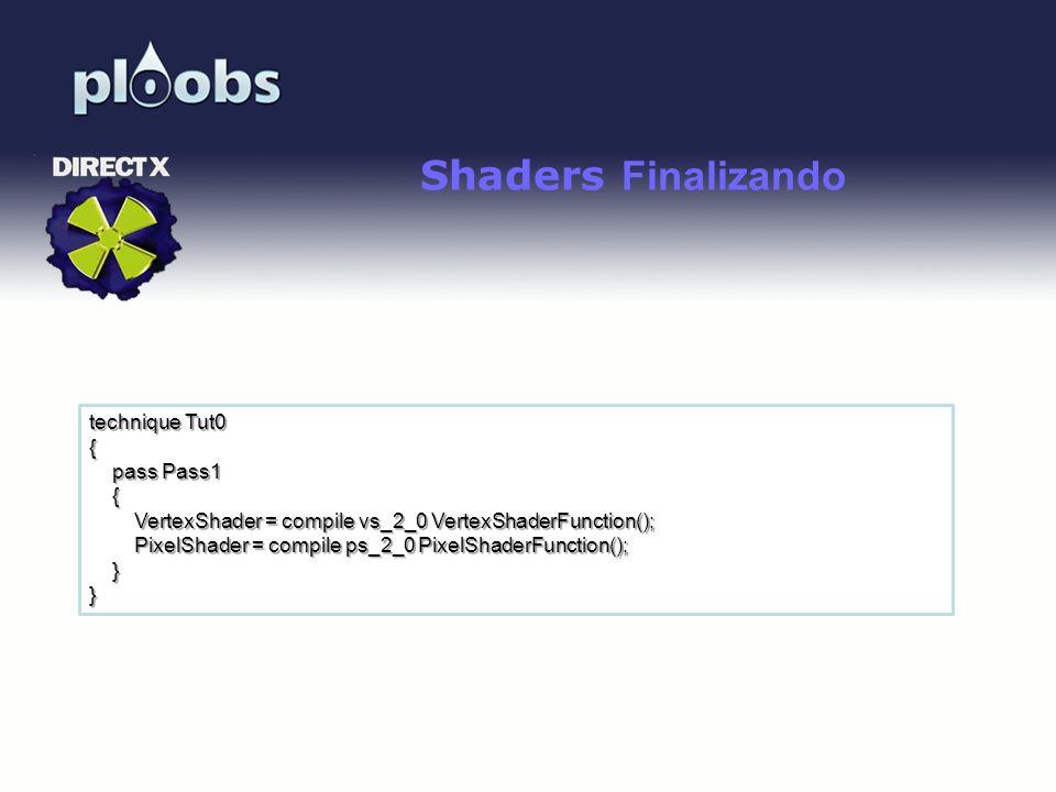 Shaders Finalizando technique Tut0 { pass Pass1 {