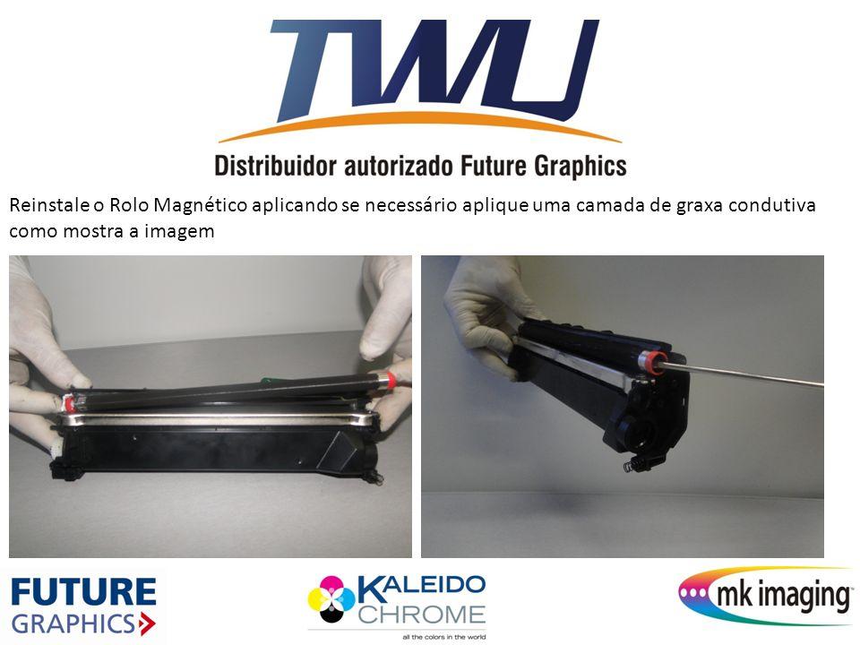 Reinstale o Rolo Magnético aplicando se necessário aplique uma camada de graxa condutiva como mostra a imagem
