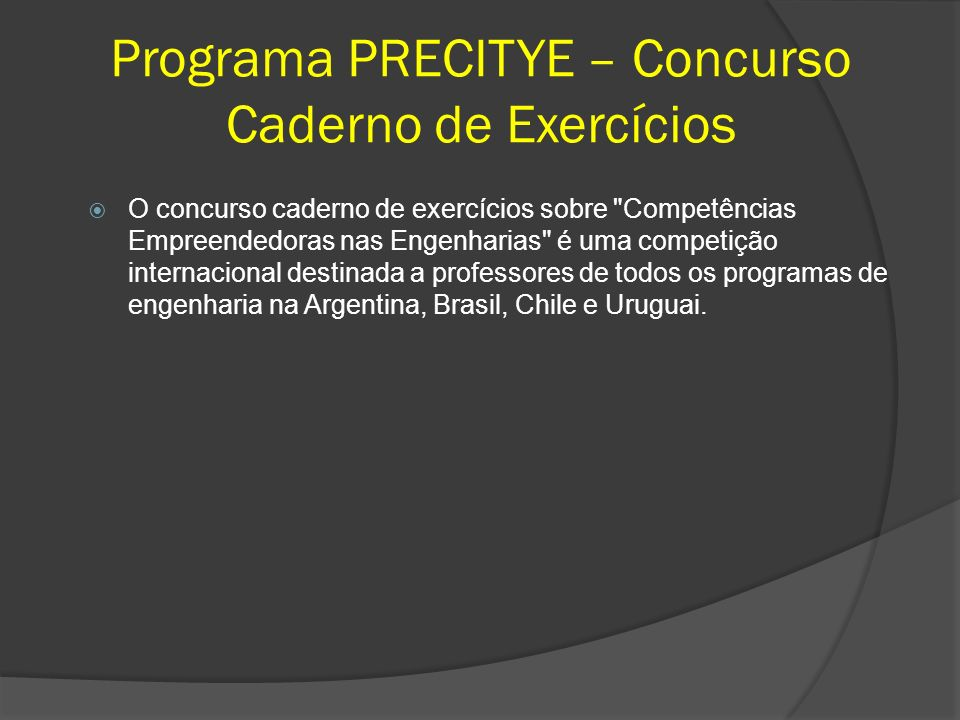 Programa PRECITYE – Concurso Caderno de Exercícios