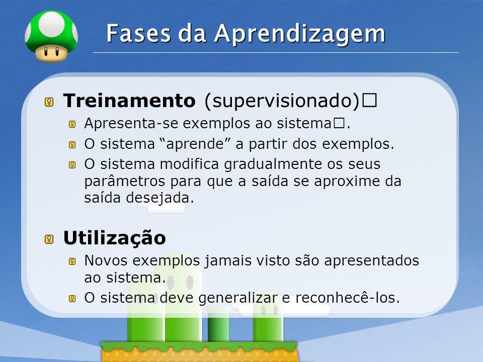 """Fases da Aprendizagem Treinamento (supervisionado)"""" Utilização"""