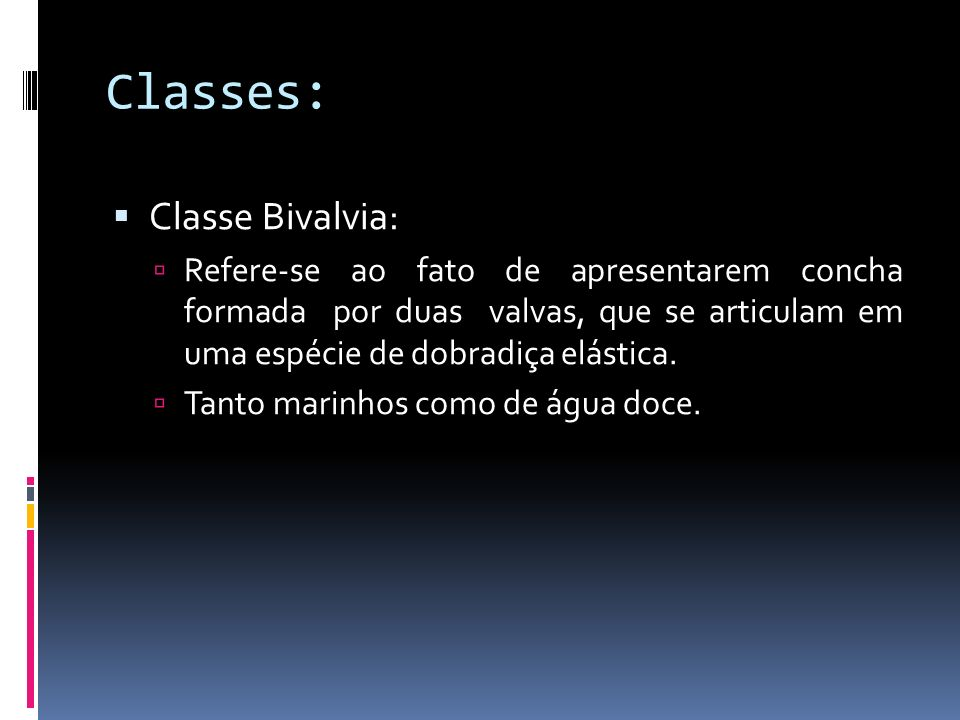 Classes: Classe Bivalvia: