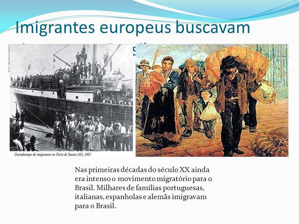 Imigrantes europeus buscavam riquezas no Brasil
