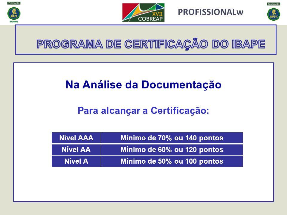 PROGRAMA DE CERTIFICAÇÃO DO IBAPE Na Análise da Documentação