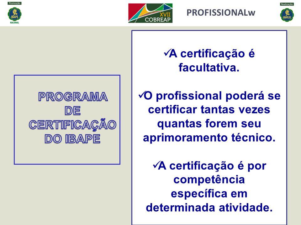 A certificação é facultativa.