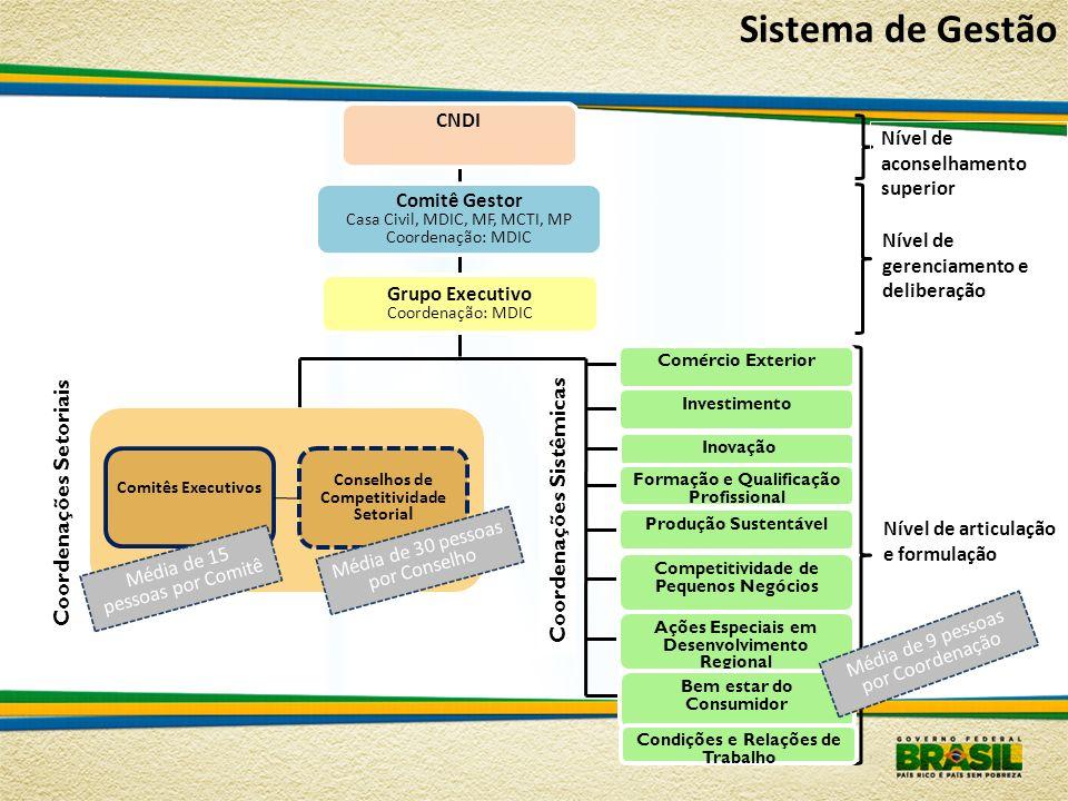 Sistema de Gestão Coordenações Setoriais Coordenações Sistêmicas CNDI
