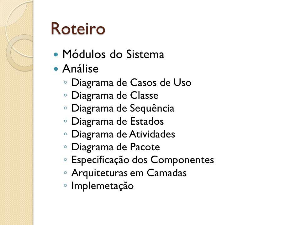 Roteiro Módulos do Sistema Análise Diagrama de Casos de Uso