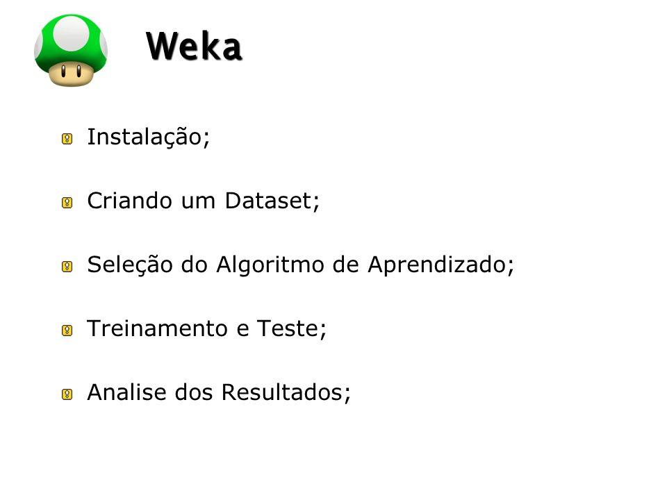 Weka Instalação; Criando um Dataset;