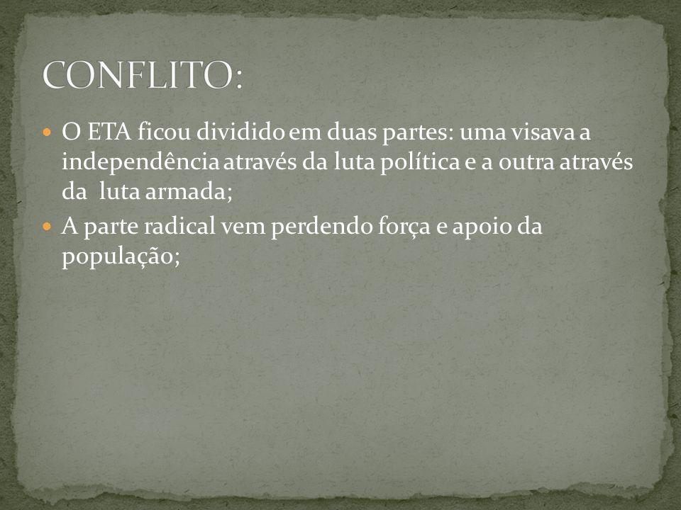 CONFLITO: O ETA ficou dividido em duas partes: uma visava a independência através da luta política e a outra através da luta armada;