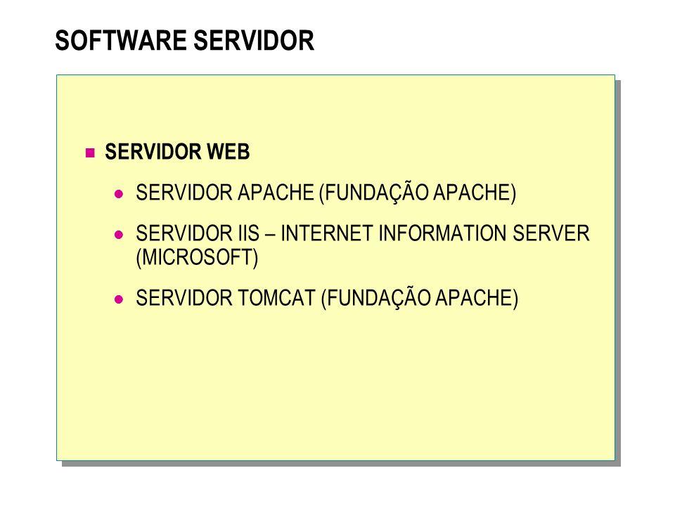 SOFTWARE SERVIDOR SERVIDOR WEB SERVIDOR APACHE (FUNDAÇÃO APACHE)