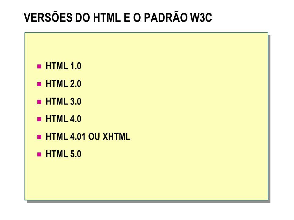 VERSÕES DO HTML E O PADRÃO W3C