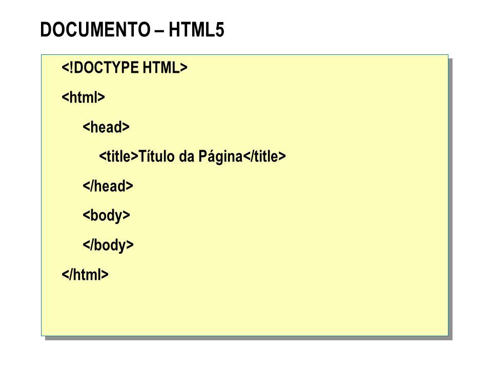 DOCUMENTO – HTML5 <!DOCTYPE HTML> <html> <head> <title>Título da Página</title> </head> <body> </body> </html>