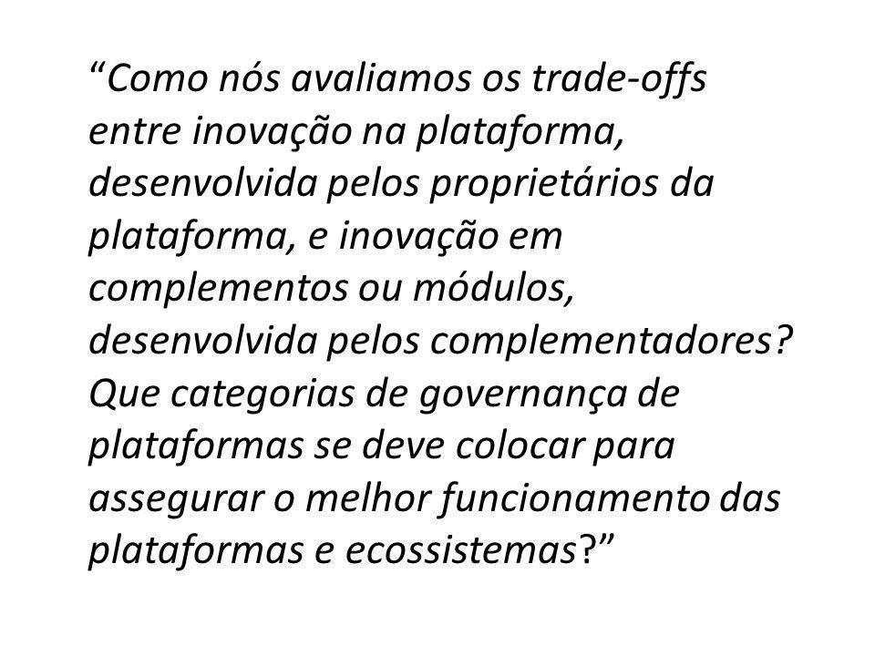 Como nós avaliamos os trade-offs entre inovação na plataforma, desenvolvida pelos proprietários da plataforma, e inovação em complementos ou módulos, desenvolvida pelos complementadores