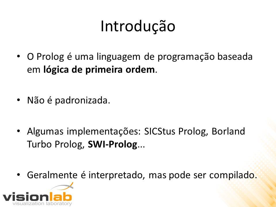 Introdução O Prolog é uma linguagem de programação baseada em lógica de primeira ordem. Não é padronizada.